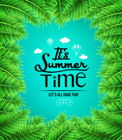 boarders: Summer Time Text with Palm Tree Leaves Boarders in Blue Background. Vector Illustration