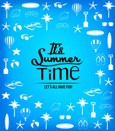summer time: Its Summer Time Background with Summer Icons and Patterns. Vector Illustration