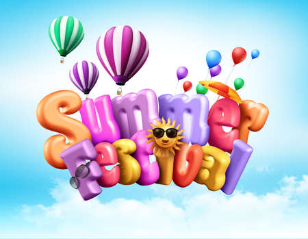 above clouds: Summer Festival Design Illustration with Unique Colorful 3D Rendered Text with Elements Flying in the Sky Above Clouds