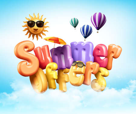Summer Offers Poster Design Illustration in 3D Rendered Graphics Flying Above Clouds for Summer Season Promotion