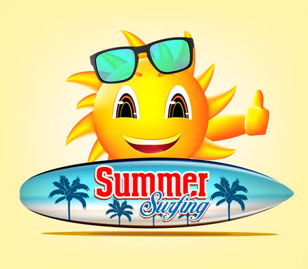 summer holiday: Summer Surfing Smiling Sun Character in Yellow Background Holding Surfboard with Seascape Design for Summer Adventures. Illustration Illustration