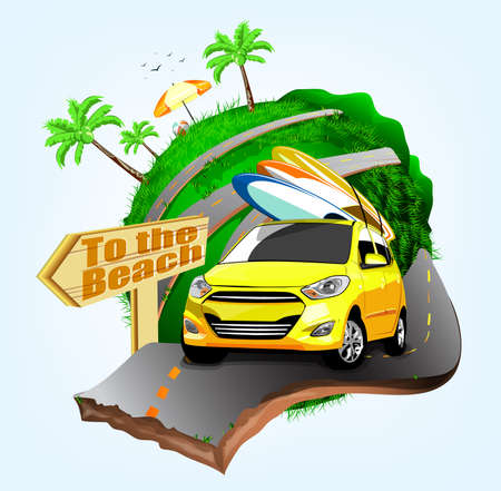 handling: Summer Surfing Adventures Poster Design with Yellow Car Handling Three Surfboards Travel to the Beach in Illustration