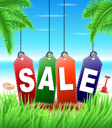 summer trees: Summer Sale Tags Hanging in Tropical Background with  Grass and Palm Trees at the Beach for Promotional Purposes Illustration