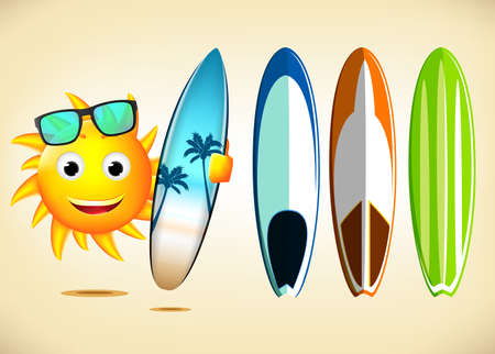 with sets of elements: Smiling Sun Character Holding Sets of Surfboards with Different Designs as Summer Elements in Illustration