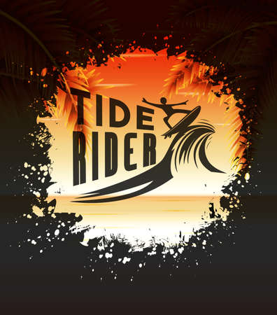 tide: Tide Rider Design Concept for Summer Surfing in a Round Splatter Illustration with Seascape Background