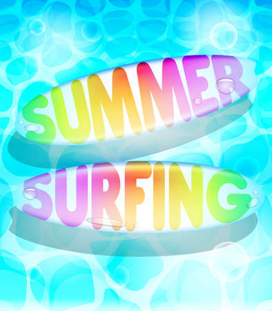 floating: Colorful Summer Surfing Design with Floating Surfboards  in Water Background. Illustration Illustration