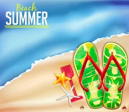 Strand-Sommer-Hintergrund für Abenteuer mit Platz für Text und Flip Flops Illustration