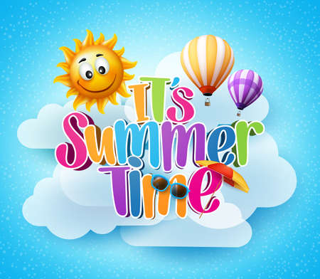 Summer Time Text in the Blue Sky Background with Clouds and Smiling Sun with Flying Balloons. Illustration