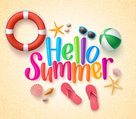 Hello Summer in the Sand Colorful Text and Background with Summer Season Items in the Beach. Illustration