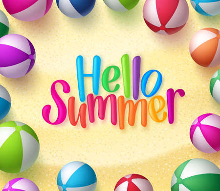 Beach ball Background with Hello Summer Text in the Sand for Summer Season. Illustration