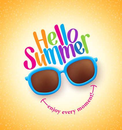 Sommer-Sonnenbrille mit Hallo Sommer Glückliche bunte Konzept in kühlen Gelber Hintergrund für die Sommersaison.