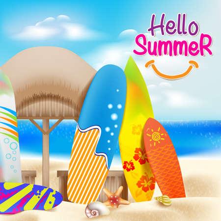 Hallo Sommer bunte Thema im Strand neben der Küste mit dekorativen Surfbretter und Bright Sky Blue Ocean einschließlich Muscheln und Nipa Hut.
