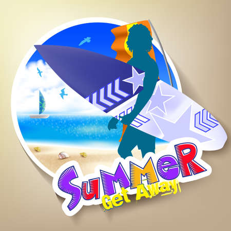 get away: Colorful Summer Get Away Theme with a Silhouette Surfer holding Surfboard standing beside the Seashore of the Blue Ocean Background. Illustration