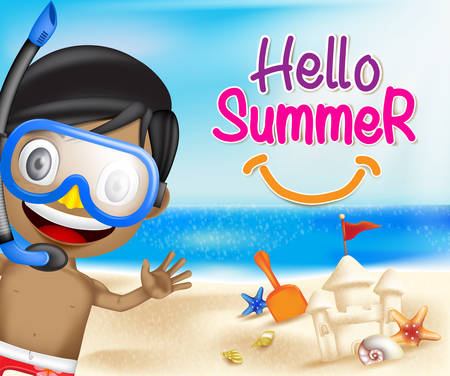 sand: Hello Summer of a Boy Waving Happy in the Seashore of the beach including Seashells and Sand Castle with bright sky blue ocean background.