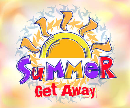 get away: Summer Get Away Colorful Title in Watercolor Effects Background with a Silhouette of the Surfer.