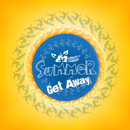 get away: Summer Get Away Title in a Round Blue Color with a Surfers including White Flower including Orange Background.
