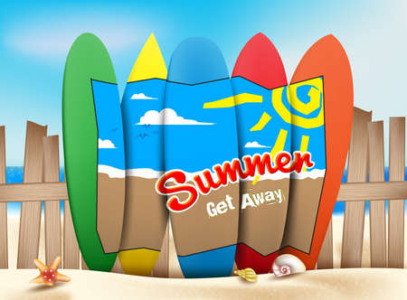 get away: Summer Get Away Concept in the Seashore of the Beach with a Drawing Design on a Colorful Surfboards in Sunny Bright Ocean or Sea Background. Illustration