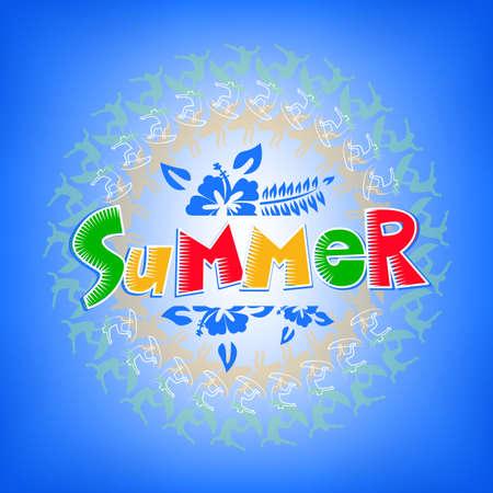 夏を取得離れてカラフルなタイトル テキストのデザイン周りのサーファーを含む青のグラデーションの背景の花で。  イラスト・ベクター素材