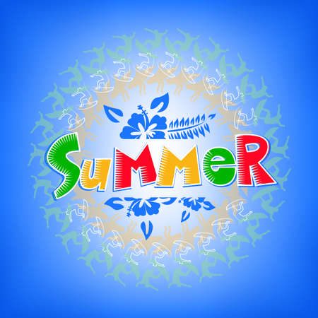 surfers: Summer Get Away Colorful Title with Flowers in Gradient Blue Background including Surfers around text design. Illustration