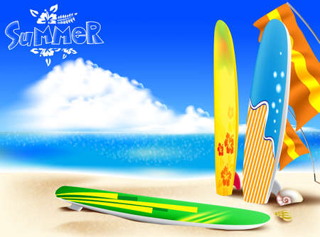 yellow adventure: Summer Adventure in the Beach with a Colorful Surfboards and Seashells including Bright Cloudy  Sky Background.