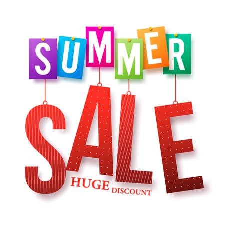 Summer Sale Colorful Text Hanging Isolated in White Background with Huge Discount for Summer Promotion. Vector Illustration Stock Illustratie