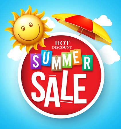 Summer Sale Hot Discount in Red Circle Floating with Umbrella and Happy Sun in the Cloudy Sky for Summer Promotion. Vector Illustration Vettoriali