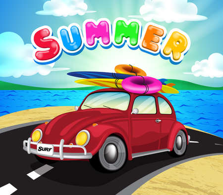 summer tires: Summer Getaway Background with Travel Car in the Road including Surfboard and Lifebuoy for Summer Trip. Vector Illustration.