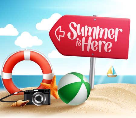 夏の地夏のビーチの休日のため、海岸の道路標識の矢印と砂の中の夏のアイテム。ベクトル図  イラスト・ベクター素材