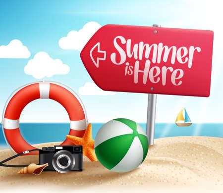 Summer Destination for Summer Beach Holiday in the Seashore with Roadsign Arrow and Summer Items in the Sand. Vector Illustration Vettoriali