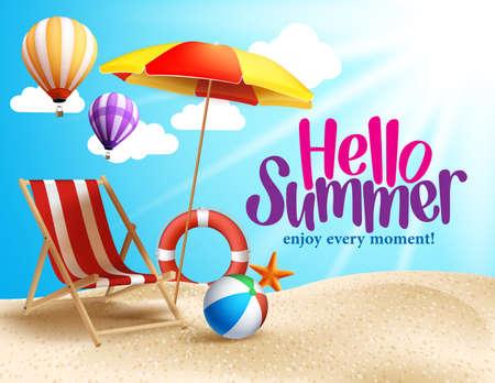 ビーチ パラソルと椅子と海岸で夏のビーチ ベクター デザイン。休日のビーチの夏背景ベクトル イラスト