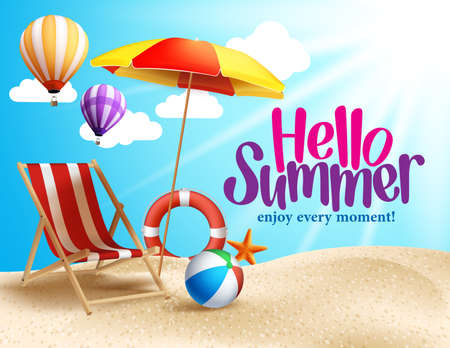 holiday backgrounds: Summer Beach Vector Design in the Seashore with Beach Umbrella and Chair. Summer Background Vector Illustration for Beach Holidays