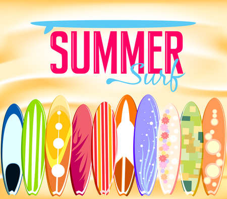 Beautiful Designs of Surfboards Laying at the Beach Sand for Summer Surf Promotional Design. Vector Illustration