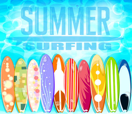 sandy beach: Summer Surfing Design with Set of Colorful Surfboards Floating in the Blue Water Background. Vector Illustration Illustration