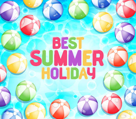 floating in water: Colorful Best Summer Holiday with Many Beach Balls Floating at Clear Blue Water