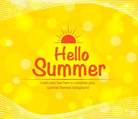 orange background abstract: Hello Summer in Orange Background Full Vector Abstract Design for Summer Season