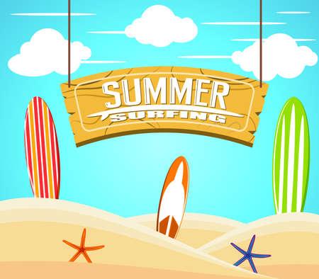 Hängen Summer Surfing Anmeldung mit bunten Surfbretter und Seestern in den Sand an einem sonnigen Tag für Sommer Abenteuer. Vektor-Illustration