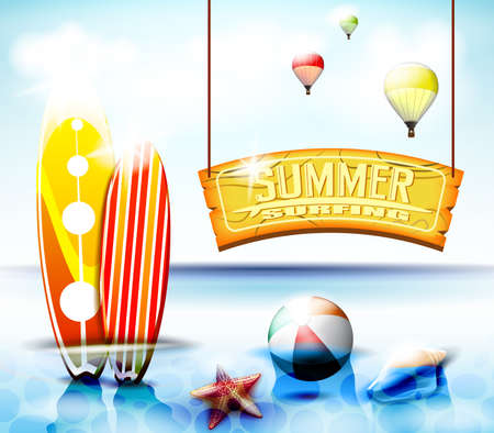 soak: Summer Surfing Hanging Arc Sign With  Starfish and Beach ball Beside the Two Surfboards Soak at the Ocean. Vector Illustration