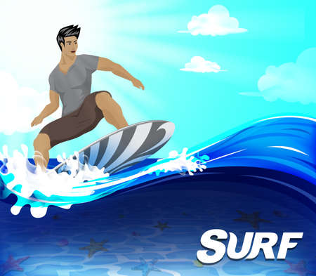 underneath: Surfer Surfing Design Over the Wave Underneath is the Seabed on the Summer Season, Vector Illustration.