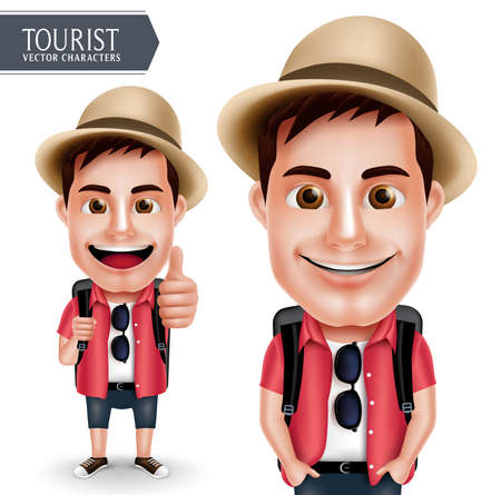 Tourist Traveler Man Vector Character Wearing Casual with Backpack for Travel and Hiking Isolated in White Background. Vector Characters Set Ilustração