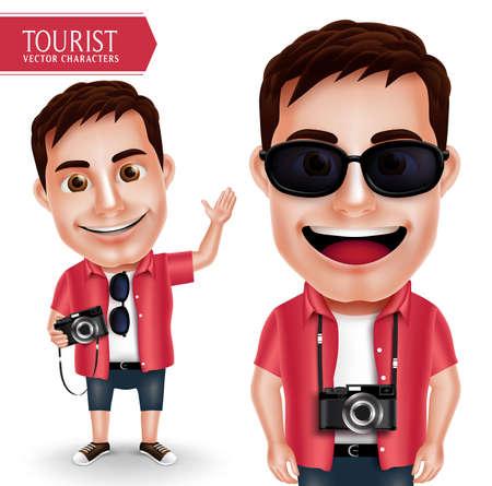 Tourist fotografo Vector Man caratteri che indossa casual in possesso della fotocamera e agitando la mano per Viaggi e montagna isolato in sfondo bianco. Personaggi Vector set Vettoriali