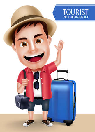 talking: Tourist Traveler Man Vector Character Wearing Casual with Traveling Bags for Travel and Hiking Isolated in White Background. Vector Characters Set Illustration