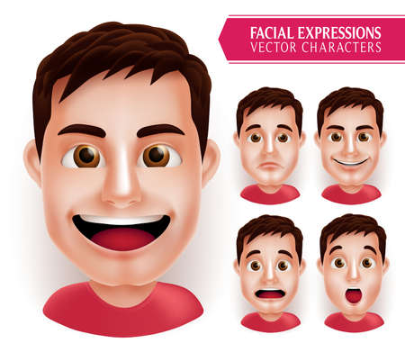 man head: Set Man Head Emotions in 3D Realistic with Different Facial Expression Isolated in White Background. Vector Illustration