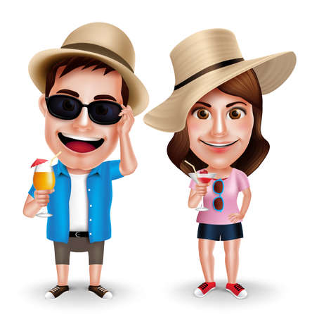 woman wearing hat: Summer Vacation Vector Characters of Couples Drinking Juices Wearing Casual Isolated in White Background. Vector Characters Set