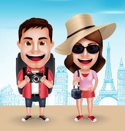 Tourist Traveler Couple Vector Characters Wearing Casual with Traveling Bags for Travel in Famous Landmarks. Vector Characters Set Ilustracja