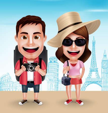 Turystyczna podróżników Para wektorowe Postacie noszenie dorywczo z torby podróżne do podróży w znanych zabytków. Wektor znaków Ustaw