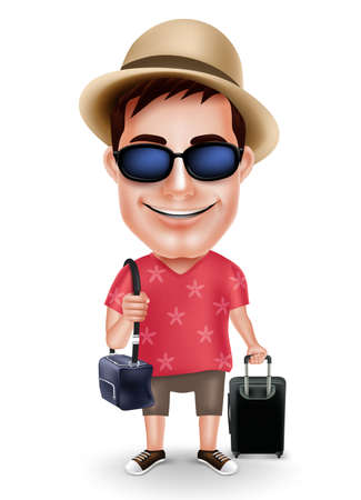 casual dress: Tourist Traveler Man Vector Character Wearing Casual Dress and Hat with Traveling Bags for Travel Isolated in White Background. Vector Illustration Illustration