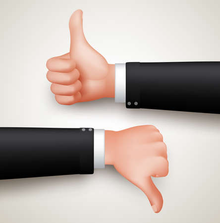 thumbs down: Like and Unlike Hand Gesture or Thumbs Up and Thumbs Down Hands of Professional Man in 3D Realistic Vector Illustration