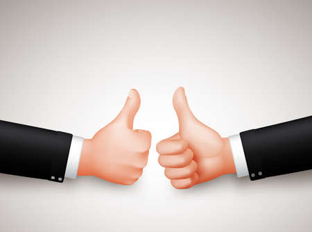 thumbs up sign: Thumbs Up Sign of Two Professional Businessman Hands for Agreements in 3D Realistic Vector Illustration