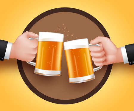 black yellow: Cheers Beer of Two Man Holding Mug for Toast of Celebration. 3D Realistic Vector Illustration