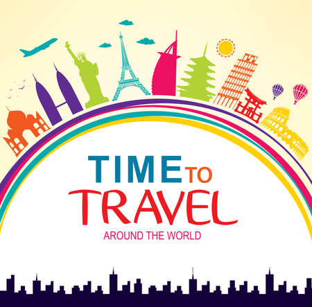 flavian: Time to Travel Around the World Vector Colorful Pop Art with Space for Text